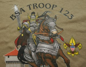 Example of custom digital printing boy scout design.