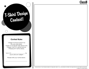 ClassB Custom T-shirt Design Contest flyer with Horizontal layout