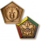 wood badge bear medallion