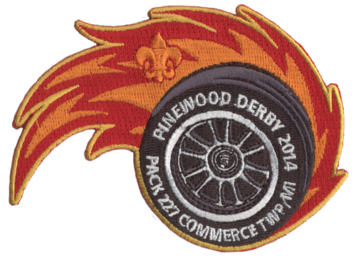 cub scout pinewood derby custom flaming tire embroidered patch