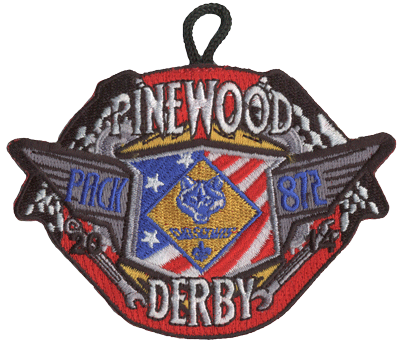 Cub scout pinewood derby crossed race flags patch