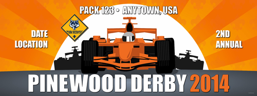 cub scout Pack pinewood derby vinyl banner