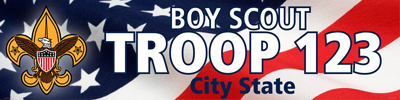 boy scout troop vinyl banner with US flag