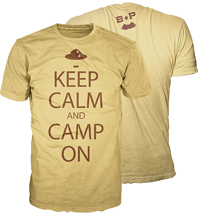 Keep Calm and Camp on scouting T-shirt