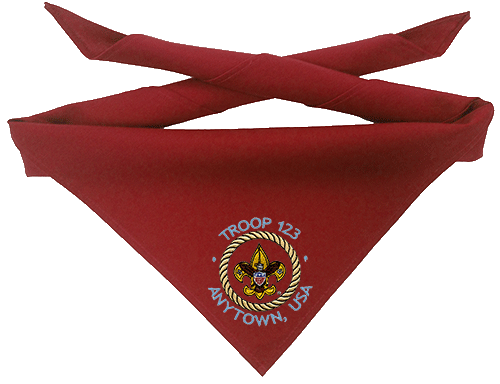 Boy scout troop neckerchief with custom embroidered Universal emblem and text