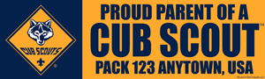 Proud parent cub scout pack bumpersticker