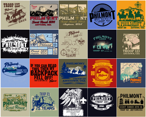 Philmont custom t-shirt designs over 100 styles to choose from