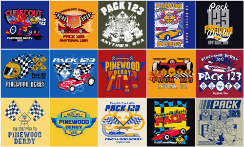 Pinewood derby cub scout pack t-shirt designs