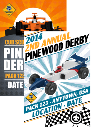 Custom classB cub scout pinewood derby posters