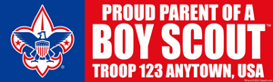 proud parent boy scout troop bumpersticker