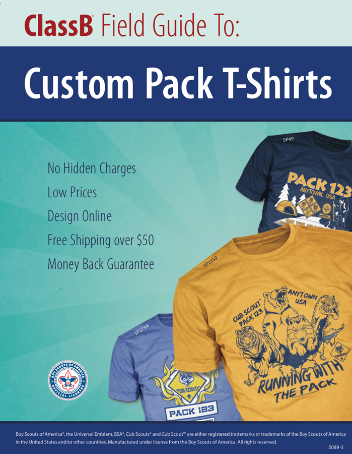 ClassB custom cub scout pack t-shirt catalog cover page