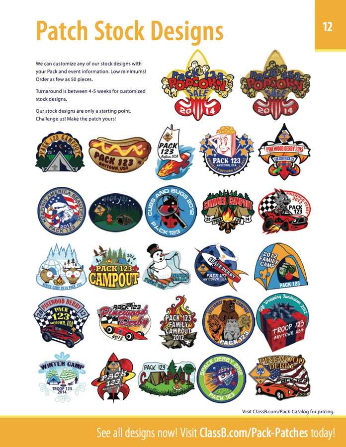 Cub scout pack banners, stickers, racer patches