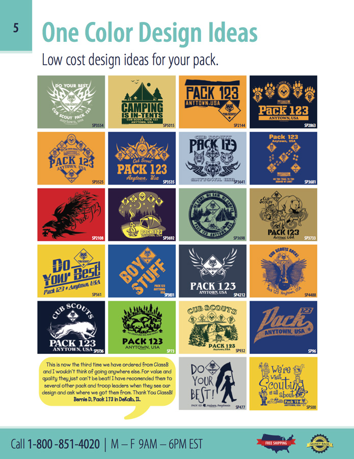 one color custom ClassB cub scout stock designs