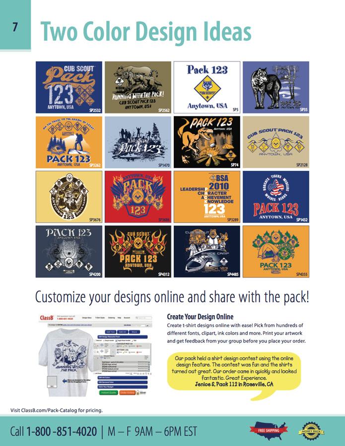 custom two color ClassB cub scout design and ClassB online t-shirt designer