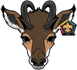 wood badge antelope critter head car window sticker