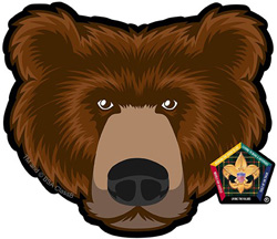wood badge bear head car window sticker