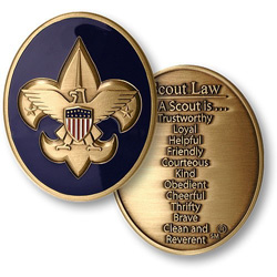 custom boy scout law coin