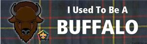 Buffalo critter head wood badge bumper sticker