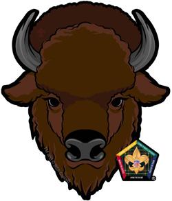 wood badge buffalo car window sticker