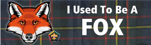 I used to be a fox Wood badge bumper sticker