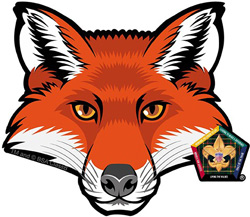 wood badge fox car window sticker