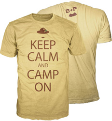 keep calm and camp on b-p scout graphic t-shirt