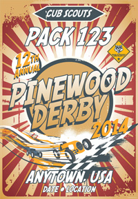 custom cub scout pack pinewood derby poster