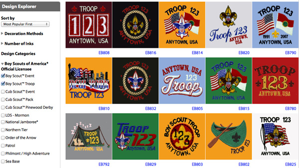 custom boy scout troop design ideas