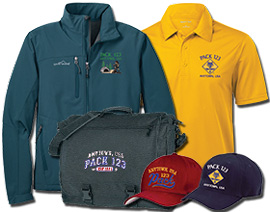 Custom Cub Scout Pack Embroidered Garments and caps