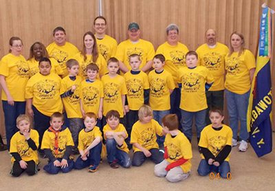 Large group of cub scouts wearing custom printed ClassB t-shirts