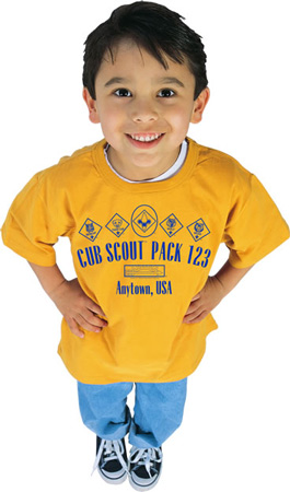 Scout age boy wearing custom t-shirt from ClassB