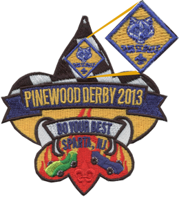 Custom embroidered patch with cub scout logo sewn small