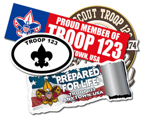 Custom boy scout Troop Window Stickers and Bumper Stickers