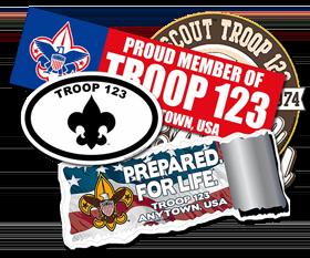 Custom Troop Window Stickers and Bumper Stickers
