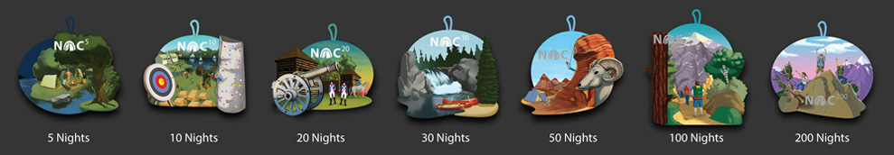 Nights of camping NOC embroidered patches from 10 to 200 nights