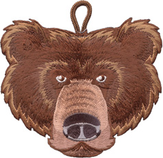ClassB bear critter head wood badge patch