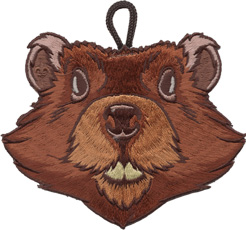 ClassB wood badge critter beaver head patch