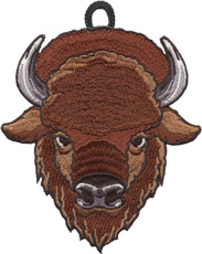 Buffalo wood badge critter head patch