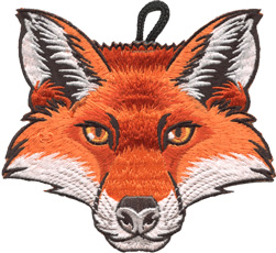 wood badge critter head fox patch