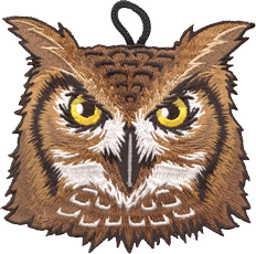 wood badge owl critter head patch