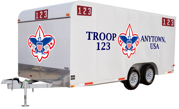 boy scout troop trailer with customer trailer graphics of a BSA logo