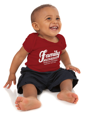baby wearing custom family reunion t-shirt