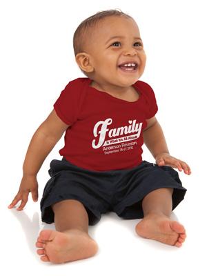 baby wearing custom family reunion t-shirt