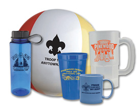 cub scout pack promotional products like steins, frisbees and mugs