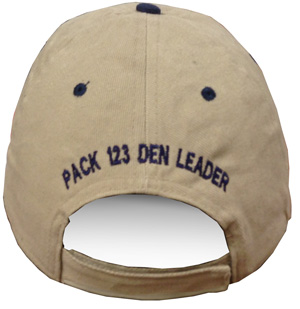 Embroidered custom text personalization for cap backs