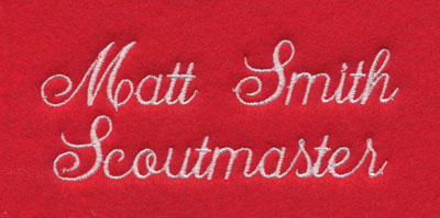 large script embroidered personalization two text lines