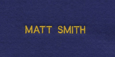 Custom embroidered small block font personalization
