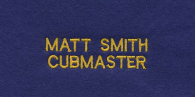Small block font custom embroider personalization