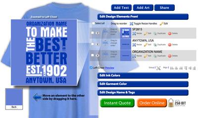 Online custom t-shirt designer tool