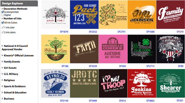 T-shirt design explorer over 400 designs to choose from